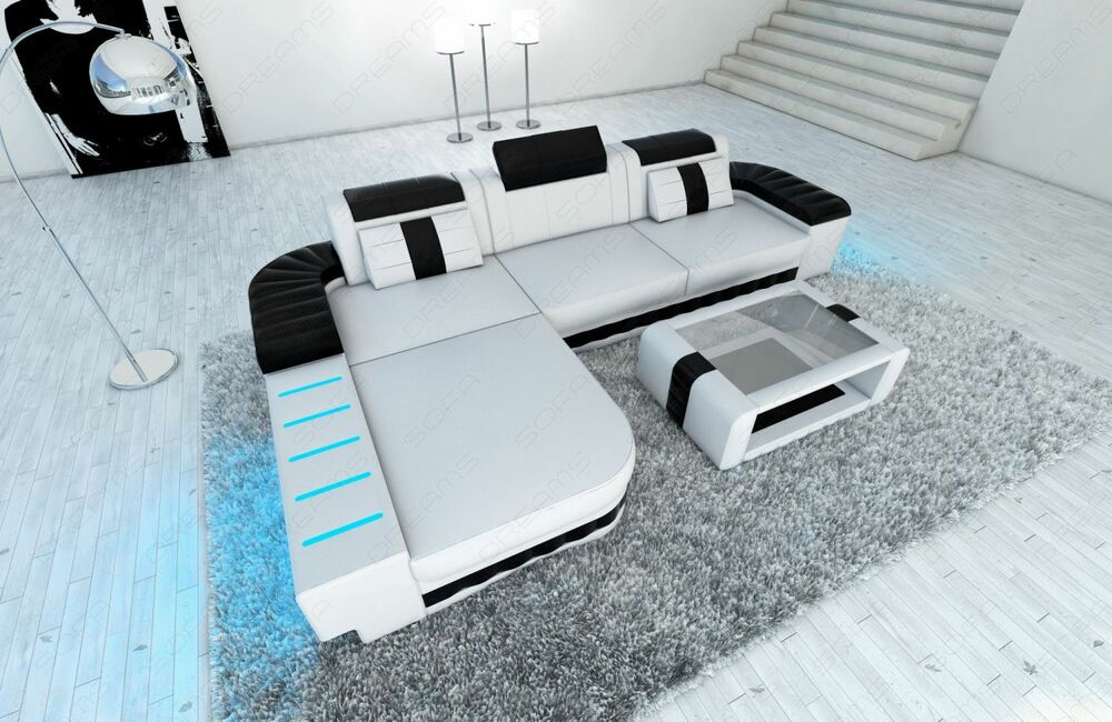 Ecksofa design bellagio l form design couch mit led weiss for Eckcouch mit led