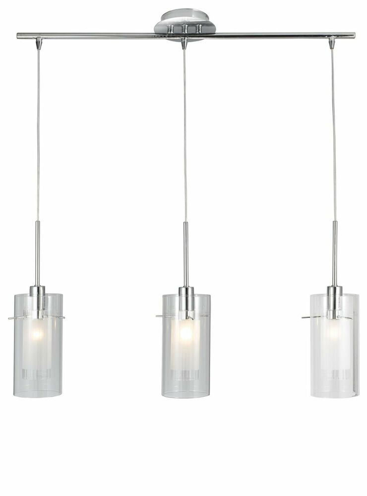 Pendant Light Distance From Bar : Searchlight cc duo polished chrome triple lamp bar