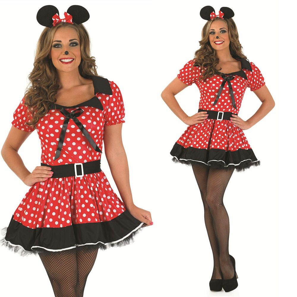 damen rote fr ulein minnie maus party kost m outfit 8 26 bergr e ebay. Black Bedroom Furniture Sets. Home Design Ideas