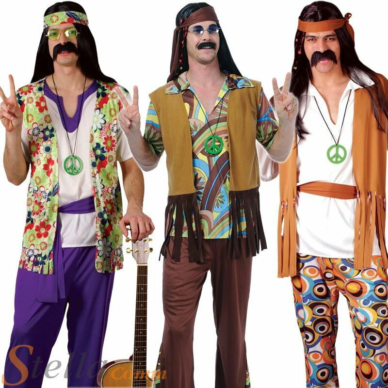 Mens groovy hippy outfit 60s 70s flares top fancy dress - Ropa de los hippies ...