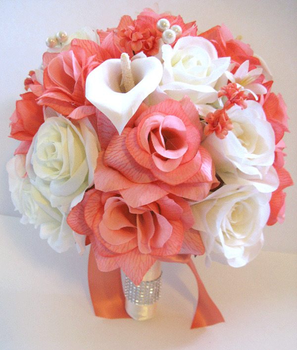 17 pc Wedding Bouquet Bridal Silk flowers CORAL CREAM ...