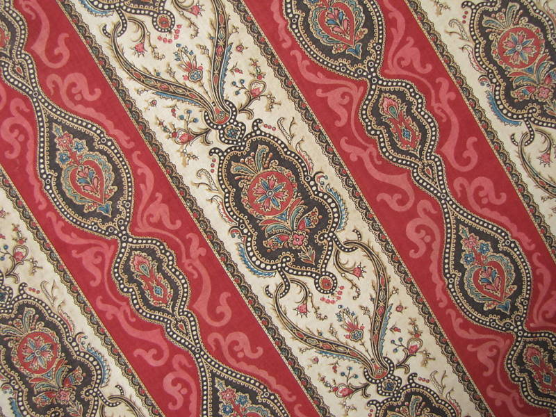 Antique French Block Print Fabric Red Indienne 19th