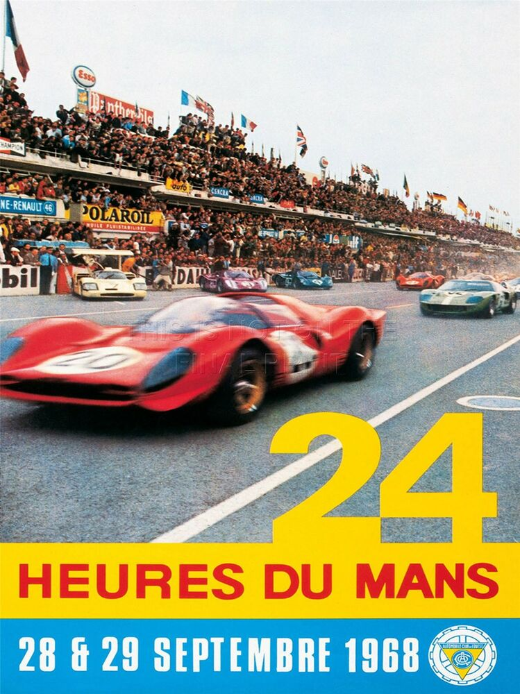art print poster sport advert le mans 24 hour race car motor france nofl1048 ebay. Black Bedroom Furniture Sets. Home Design Ideas