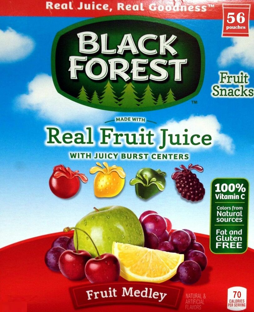 56 POUCHES Black Forest FRUIT MEDLEY Real Fruit Juice ...