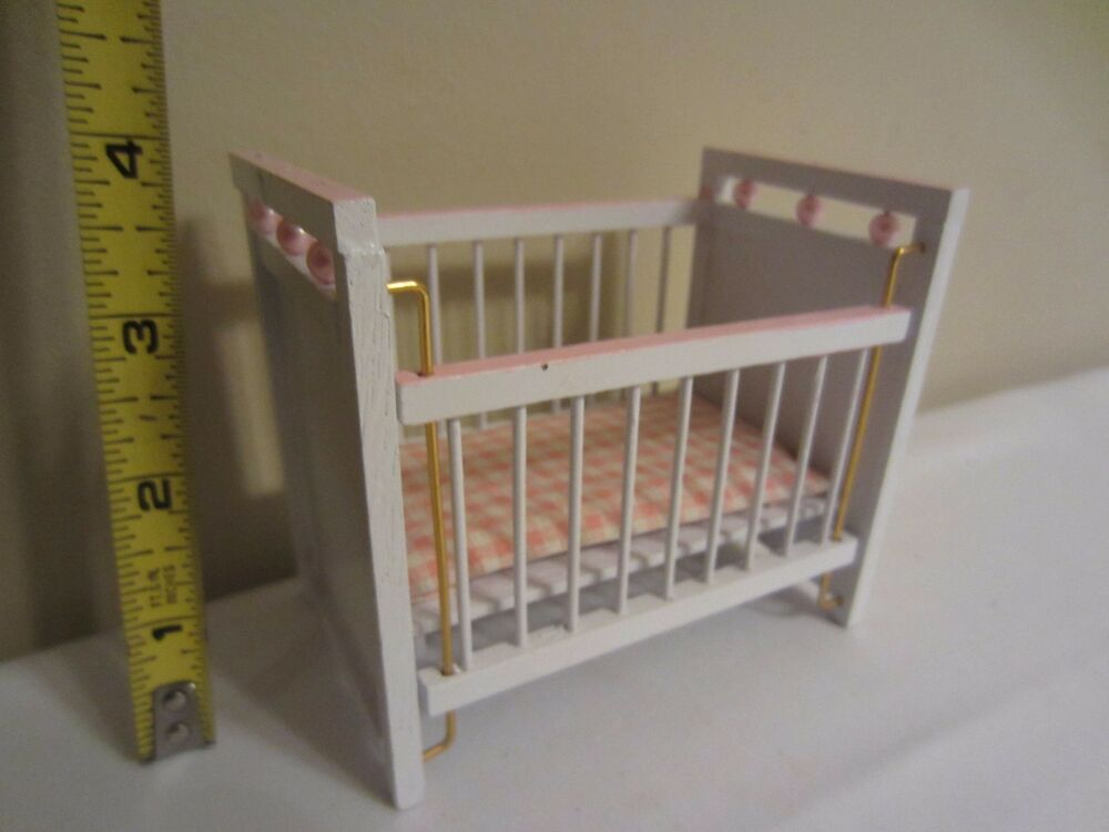 Dollhouse Miniature Nursery Furniture White Pink Pearl Wood Baby Crib Ebay