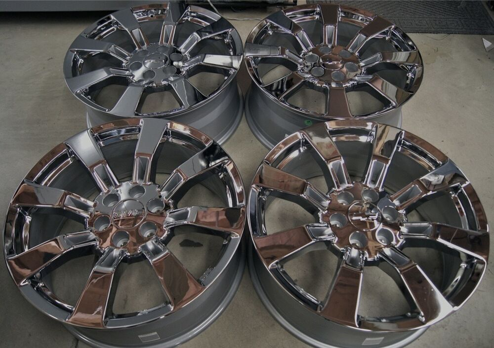 new chevy silverado tahoe suburban avalanche chrome 22 wheels rims ck375 ebay. Black Bedroom Furniture Sets. Home Design Ideas