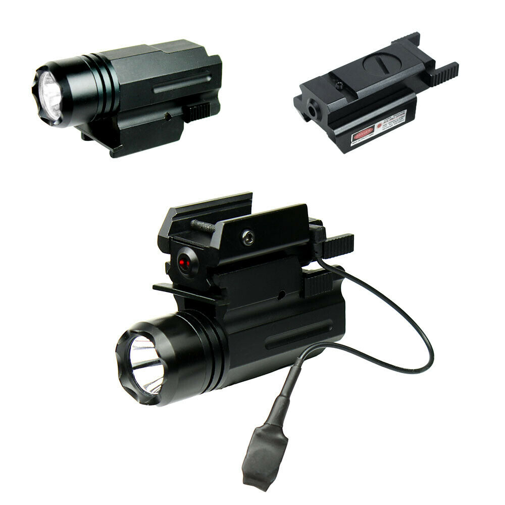 Compact Pistol Led Flashlight With Low Profile Red Laser