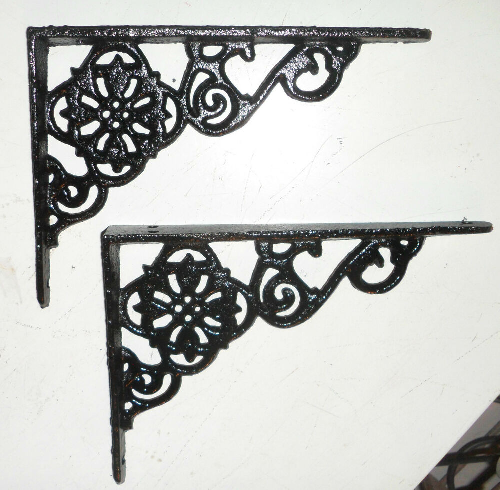 beautiful black cast iron ornate wall shelf brackets. Black Bedroom Furniture Sets. Home Design Ideas