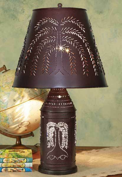 red black revere punched tin willow table lamp w tin shade ebay. Black Bedroom Furniture Sets. Home Design Ideas