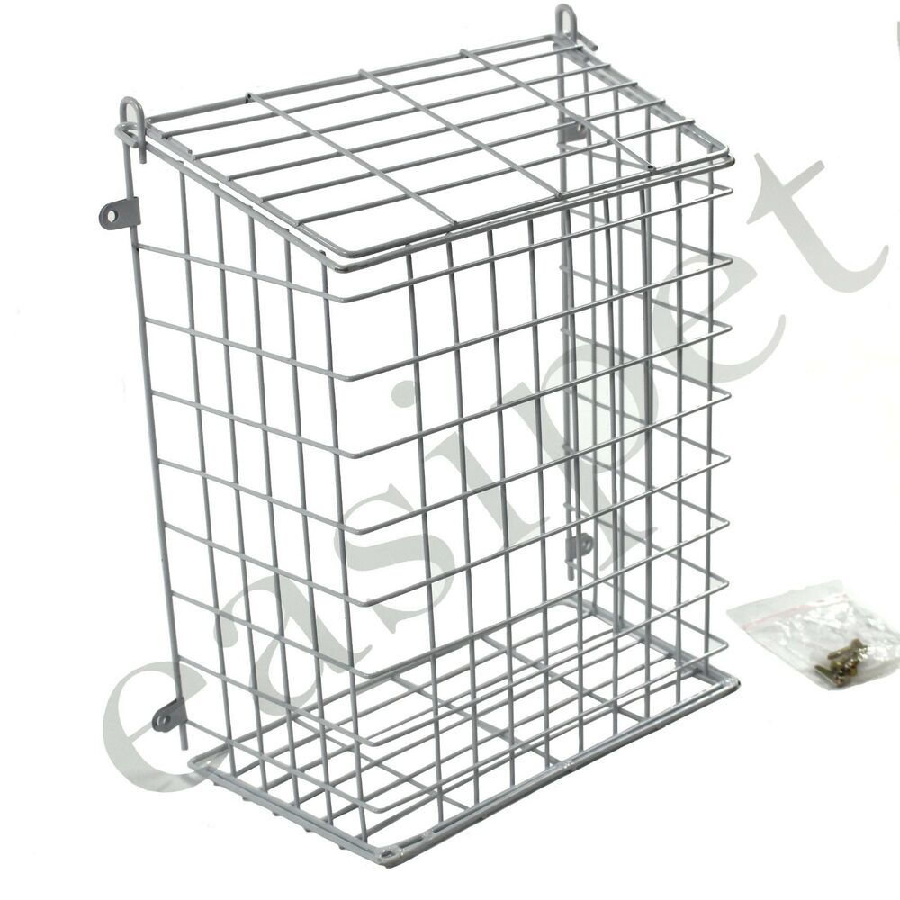 front door letter box cage post mail catcher guard white
