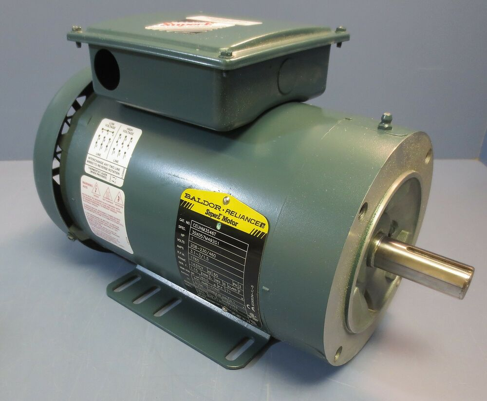 Baldor reliance ceuhm3546t 3 ph ac motor 1 hp 1760 rpm for Baldor industrial motor parts