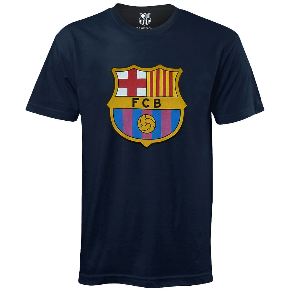 fc barcelona official football soccer gift kids crest t shirt ebay. Black Bedroom Furniture Sets. Home Design Ideas