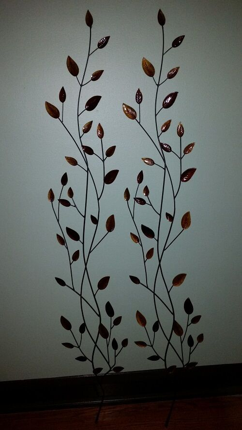 Wall Art Decor Set Of Two Metal Leaves Over 5 Feet Long