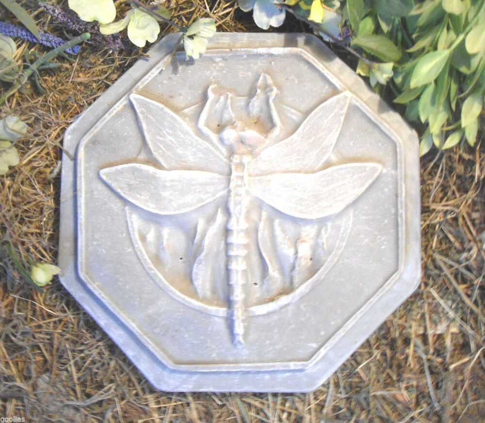 Plastic garden mold mould stepping stone dragonfly mold for Concrete craft molds