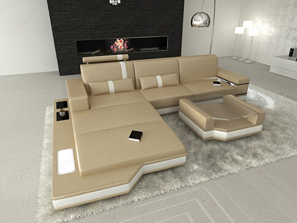couch garnitur messana l form mit led beleuchtung design. Black Bedroom Furniture Sets. Home Design Ideas