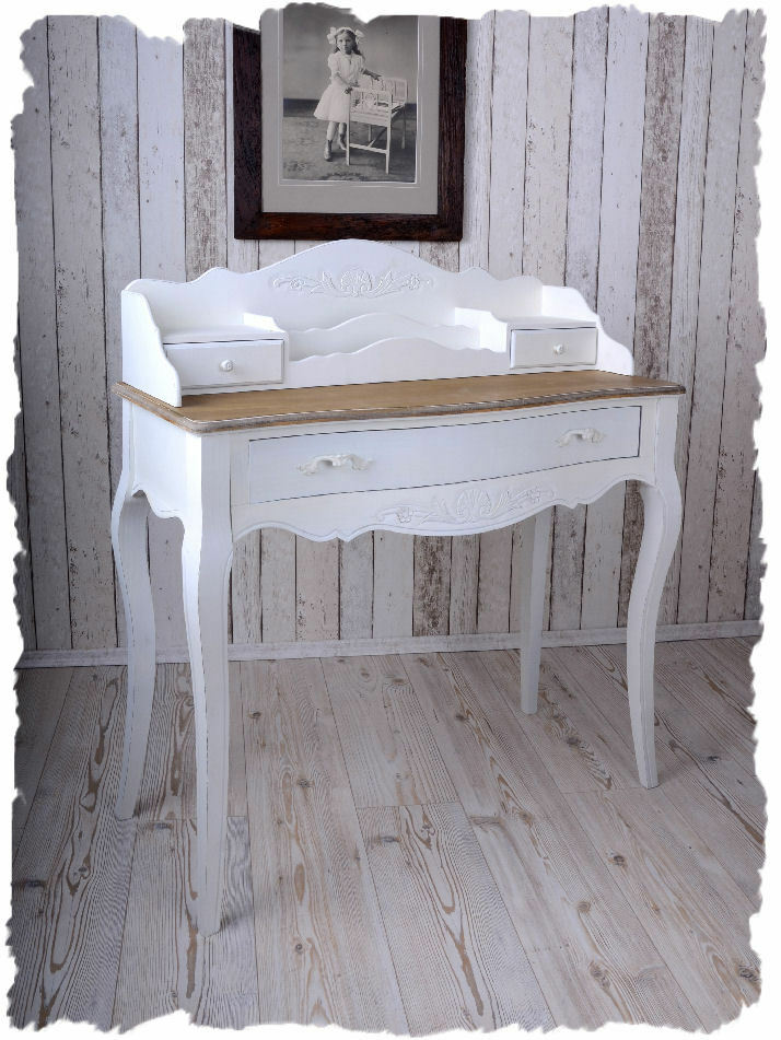konsolentisch wandkonsole landhausstil sekret r schreibsekret r weiss ebay. Black Bedroom Furniture Sets. Home Design Ideas