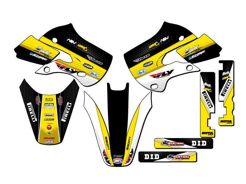 All years rm 65 graphics kit suzuki rm65 deco decals for Sticker deco
