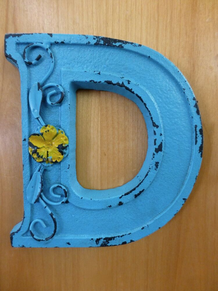 Blue Cast Iron Wall Letter D 6 5 Tall Rustic Vintage