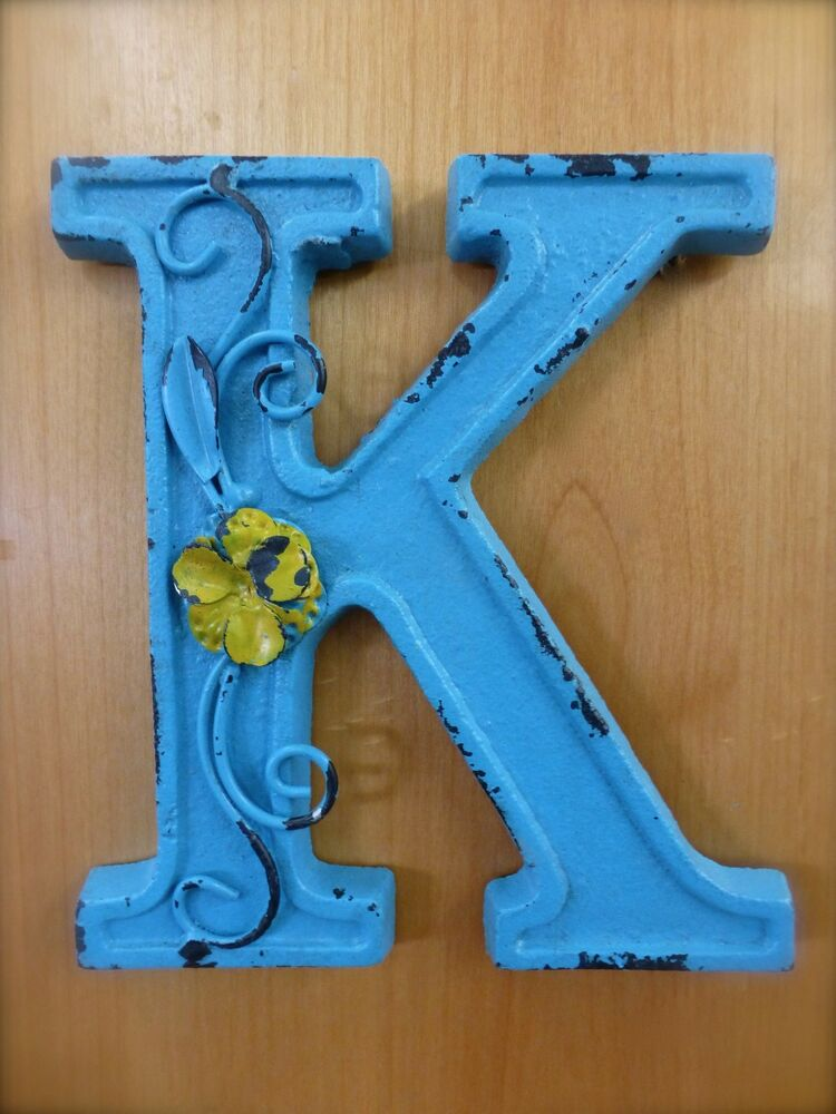 Blue cast iron wall letter k 6 5 tall rustic vintage for Letter k decoration