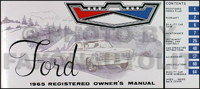 1965 Ford Galaxie Owners Manual 65 500 Ltd Xl Custom Registered Owner Guide Book
