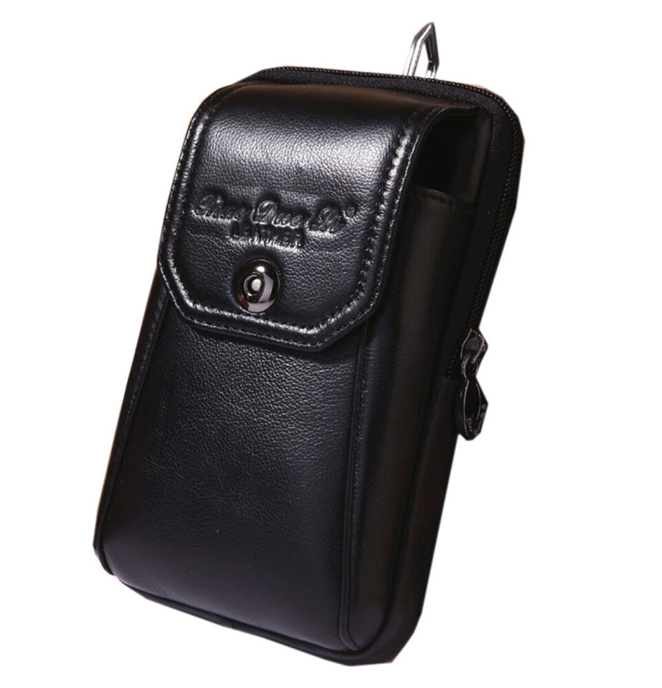 genuine leather cell phone belt hip pouch hook purse