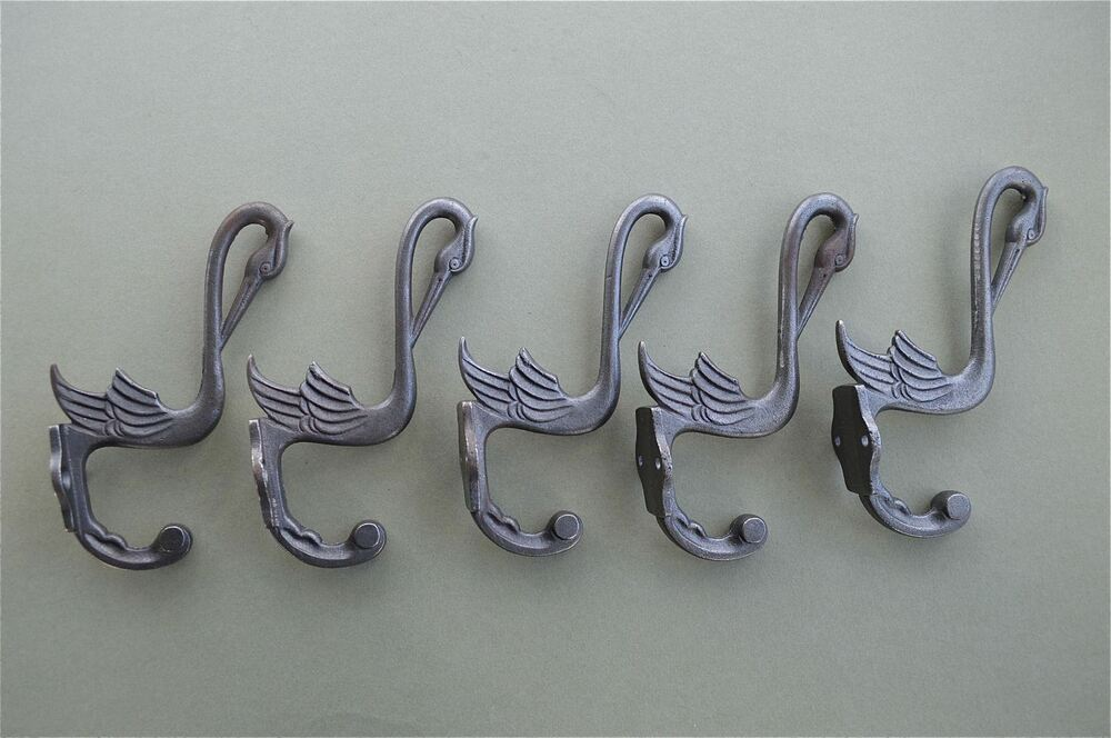 Set of 5 beautiful arts and crafts stork hook cast iron for S hooks for crafts