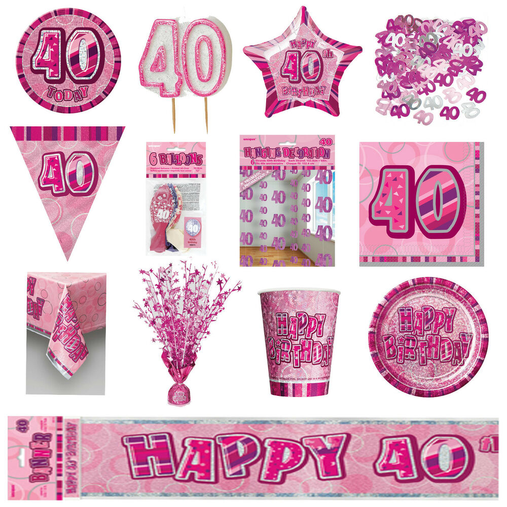 40th pink glitz birthday party supplies decorations for Decoration stuff