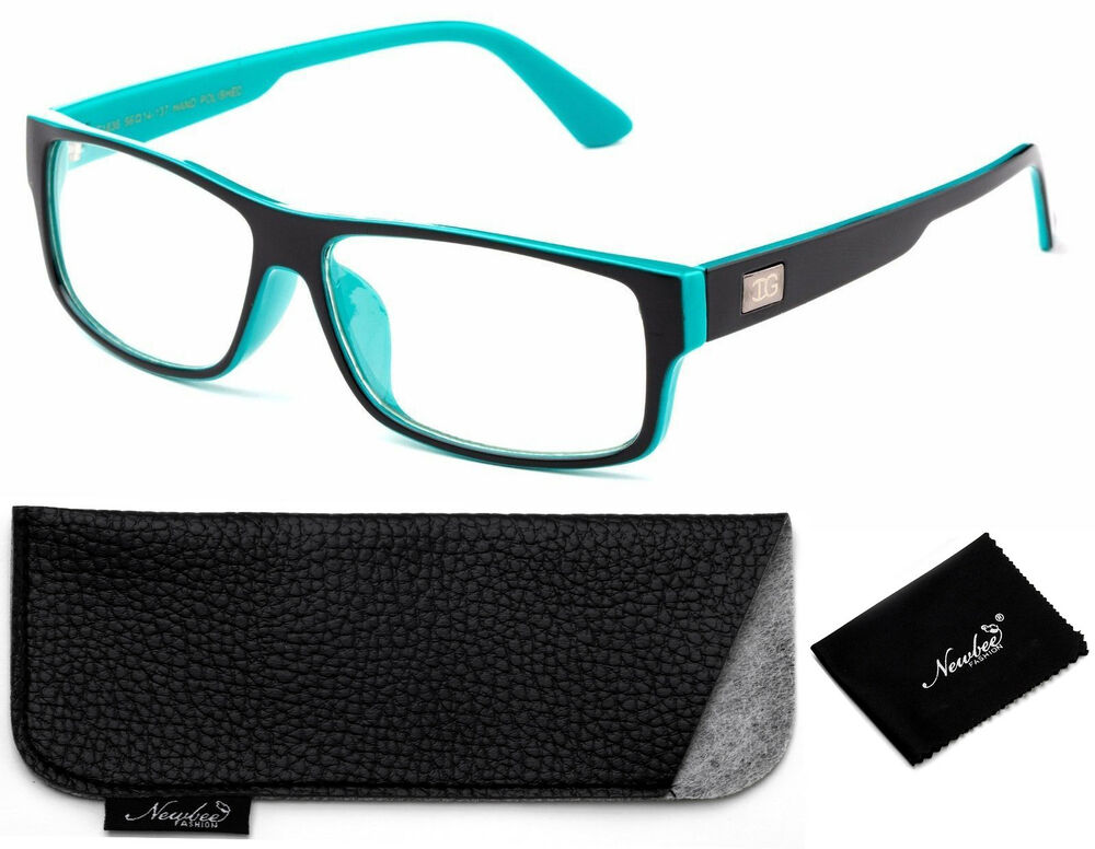 Black Teal Rectangular Frame Non Prescription Clear Lens ...