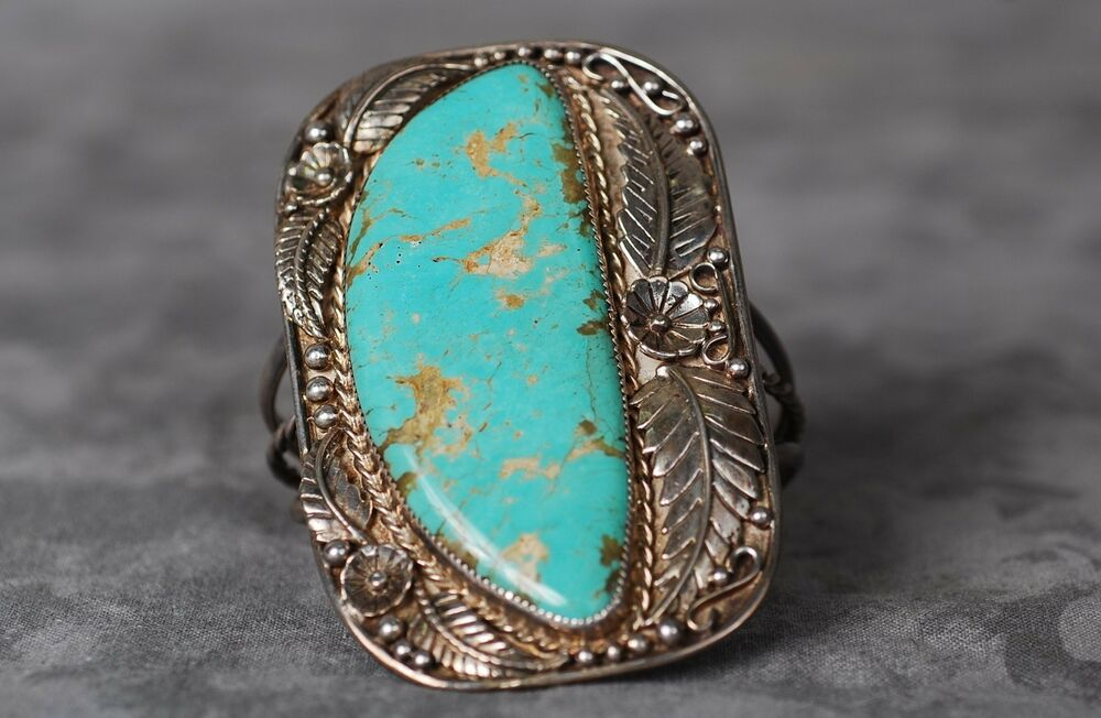 Vintage Native American Large Sterling Silver Turquoise Cuff Bangle Bracelet Ebay