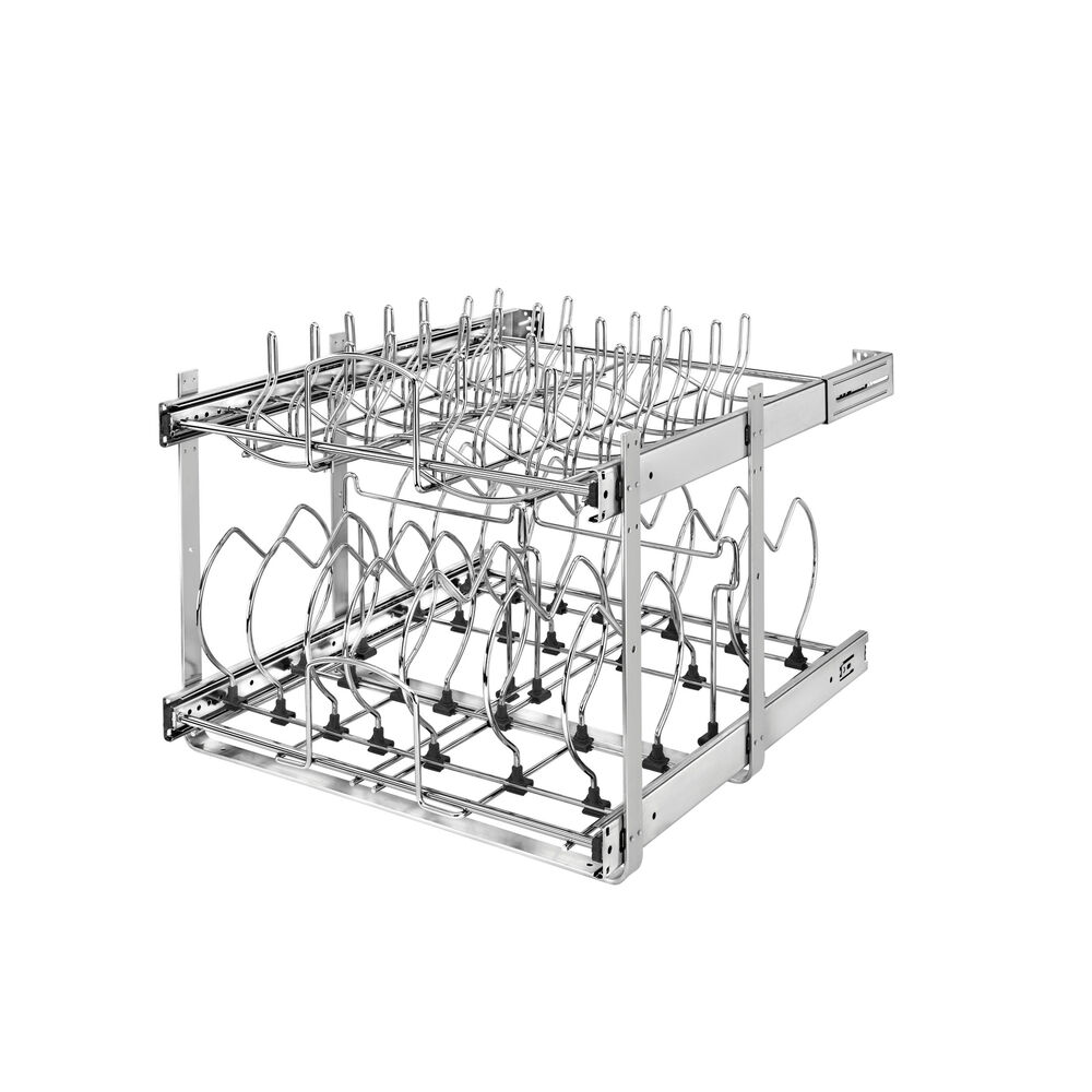 """Rev A Shelf 2 Tier Pull Out Base Cabinet Basket Drawer: Rev-A-Shelf 5CW2-2122 Chrome 5CW2 Series 21"""" Two-Tier Pull"""