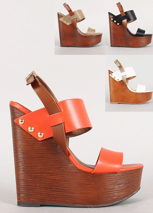 Womens Ankle Strap Wedge Wooden Shoes Pu Leather Slingback