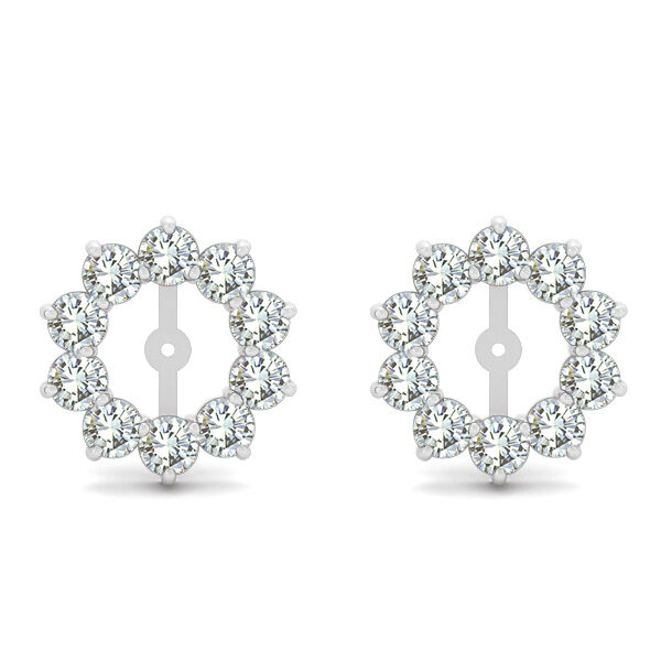 2 Carat G-H SI2 Round Diamond Solitaire Stud Earring Jackets Halo 14K White Gold | EBay