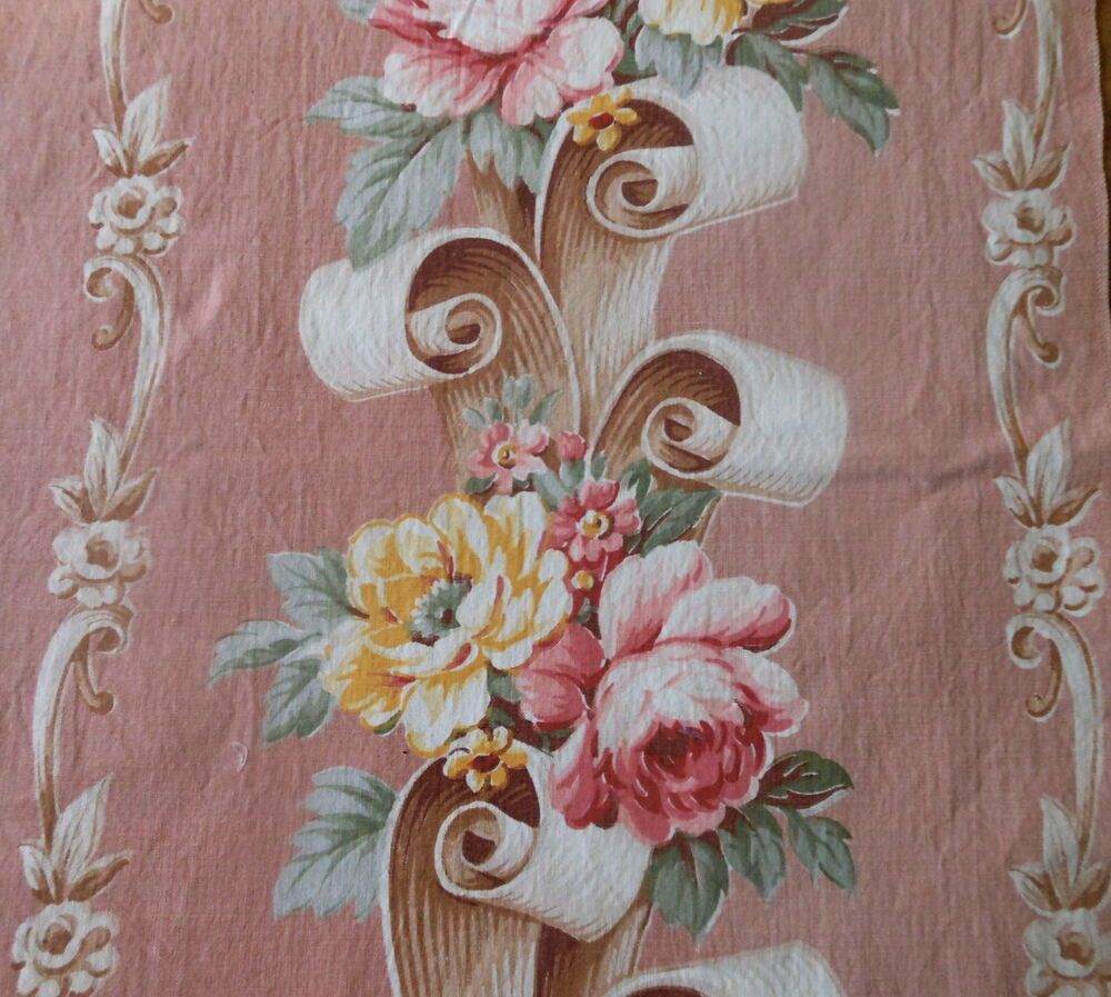 Antique Scrollimgs: Antique Vintage 1940's Roses Floral Scroll Cotton Fabric