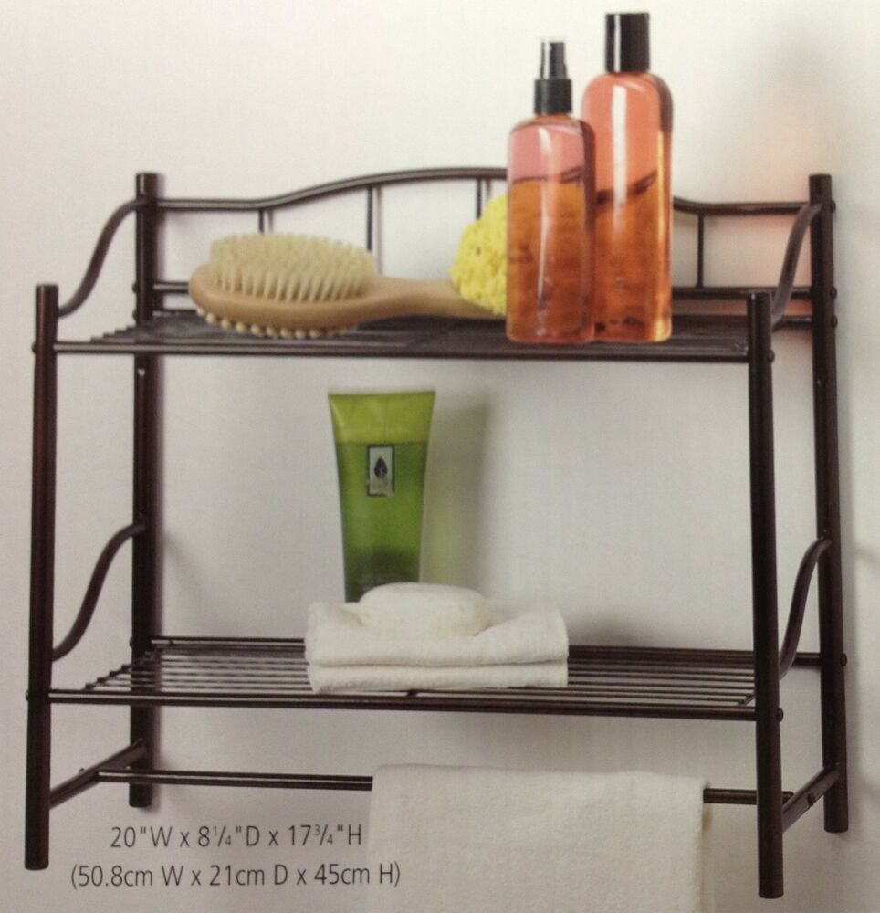 oil rubbed bronze double wall shelf organizer with towel. Black Bedroom Furniture Sets. Home Design Ideas