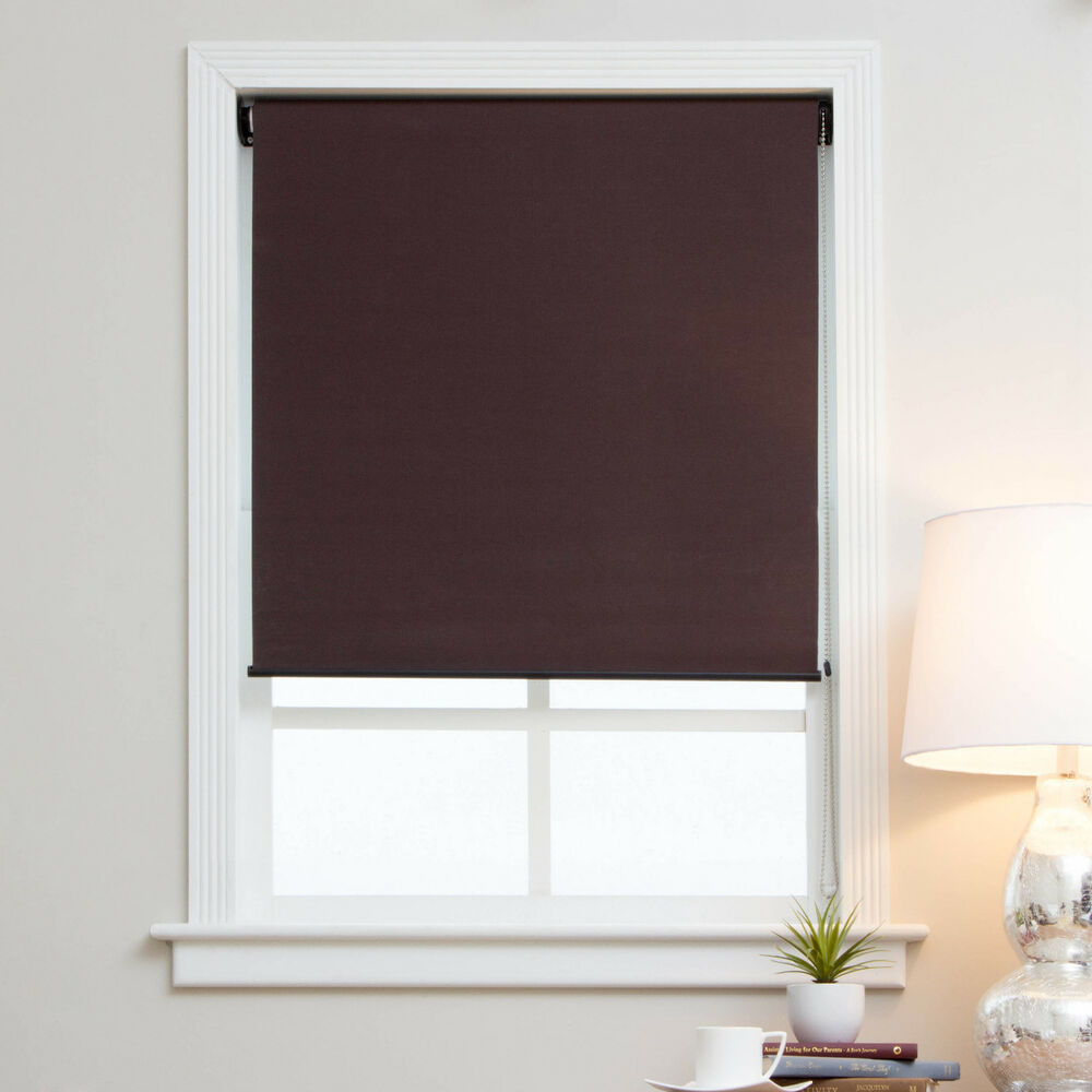Fabric Roller Shades : Arlo blinds mocha brown blackout fabric roman shades ebay