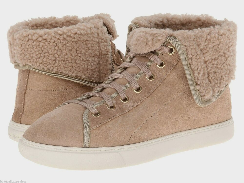 Cole Haan Raven Hightop Sneakers Shearling Womens Maple Sugar 8.5 NEW IN  BOX | eBay