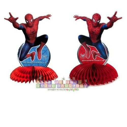Spider man 3 centerpiece super hero birthday party for Spiderman decorations