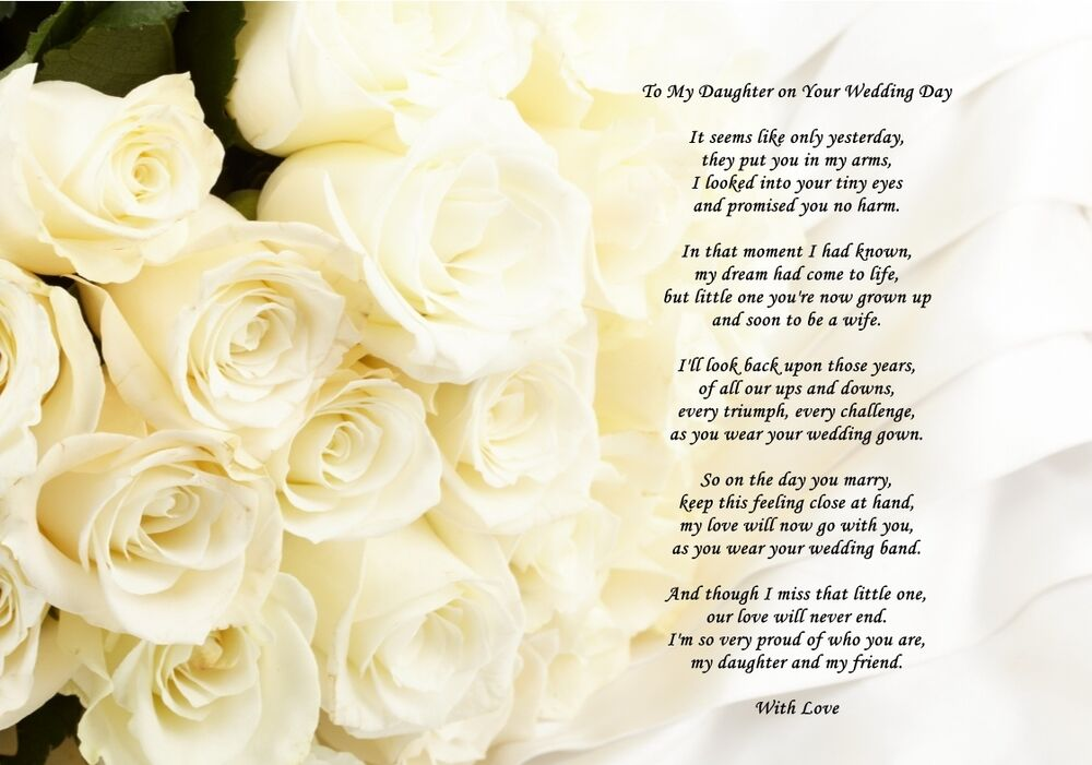 A4 poem from mum to daughter on her wedding day can also for Best day for a wedding