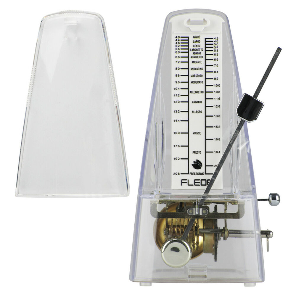 fleor wind up mechanical metronome transparent style for guitar piano violin 799928720328 ebay. Black Bedroom Furniture Sets. Home Design Ideas