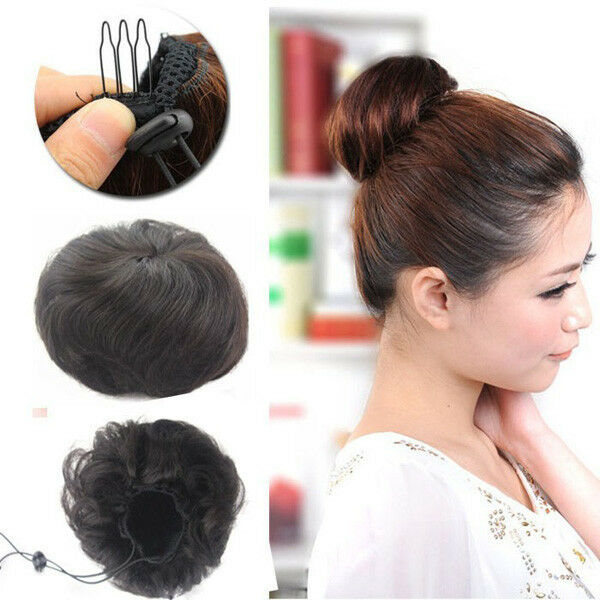 Clip In On 100 Human Hair Straight Drawstring Buns Piece