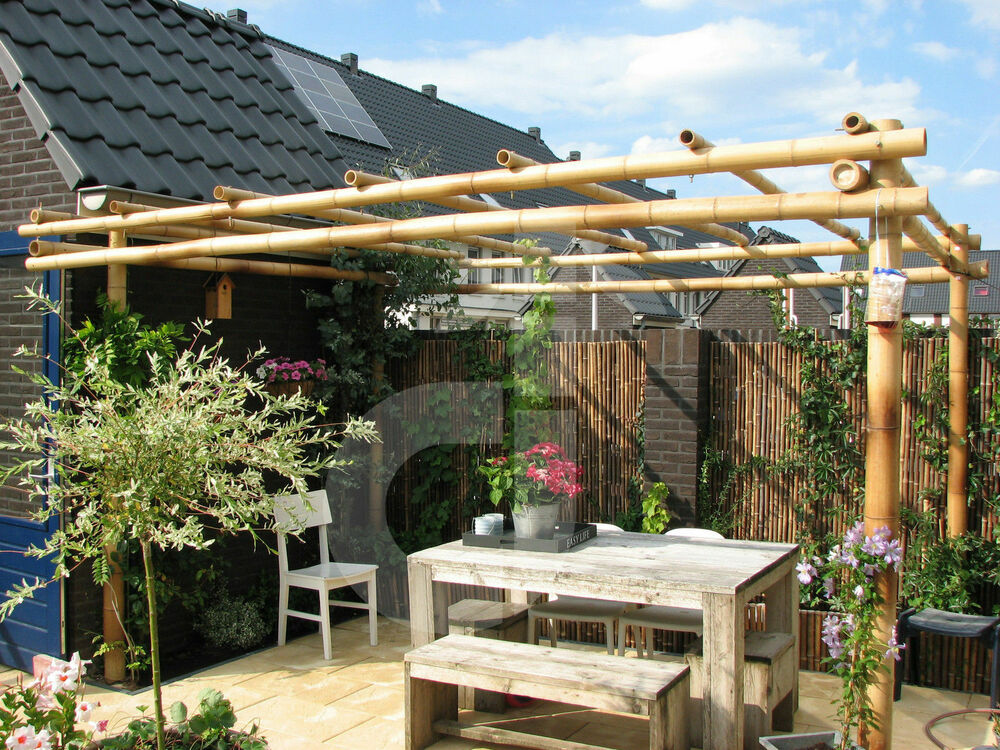 bambus pergola pavillon f r ihren garten terrasse rankhilfe sonnenschutz ebay. Black Bedroom Furniture Sets. Home Design Ideas