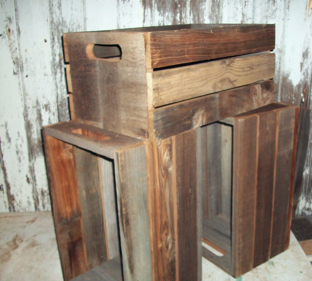 Reclaimed barn wood crate shelf rustic urban box wooden