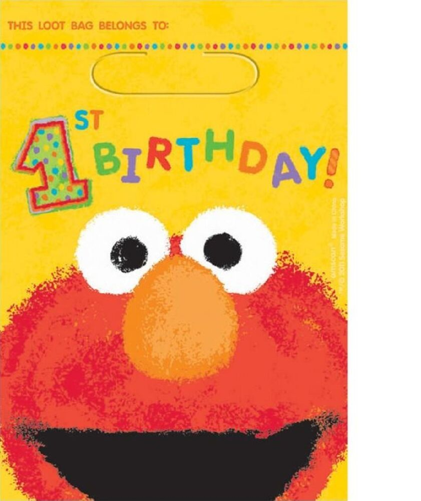Sesame Street Elmo 1st Birthday Treat Loot Bags 8ct Party