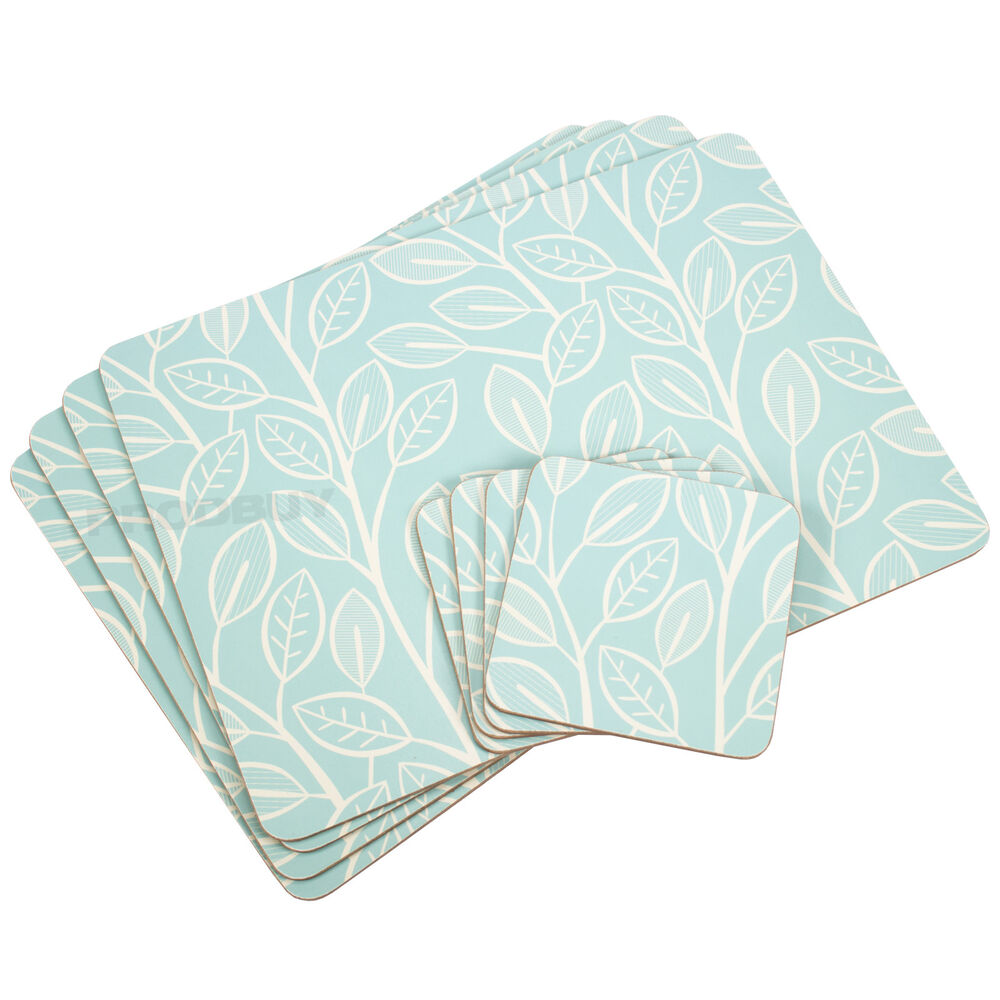 Set of 4 placemats coasters light turquoise leaves for Table placemats