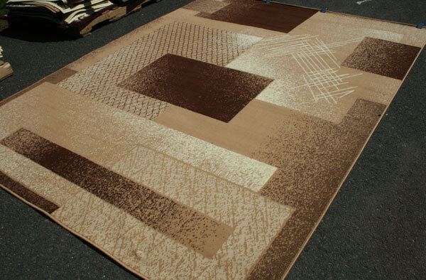 New Area Rug Beige Brown Modern Squares Fast Shipping