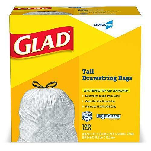 Kitchen Garbage Bags: Glad Drawstring Tall Kitchen Trash Garbage Bags 13 Gallon
