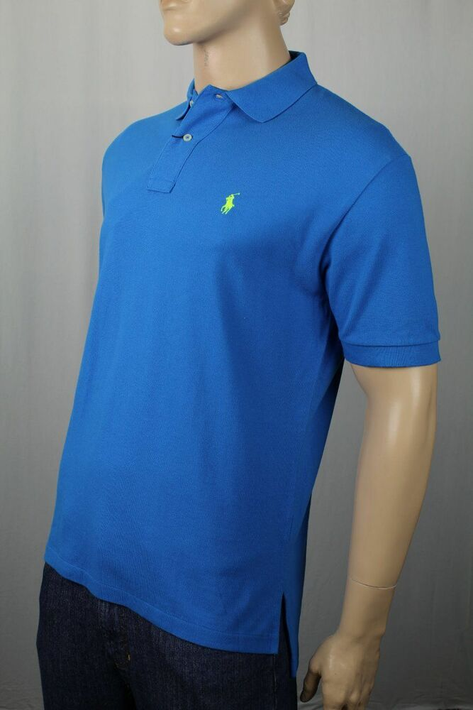 Ralph lauren blue custom fit mesh shirt polo neon yellow for Ralph lauren custom fit mesh polo shirt