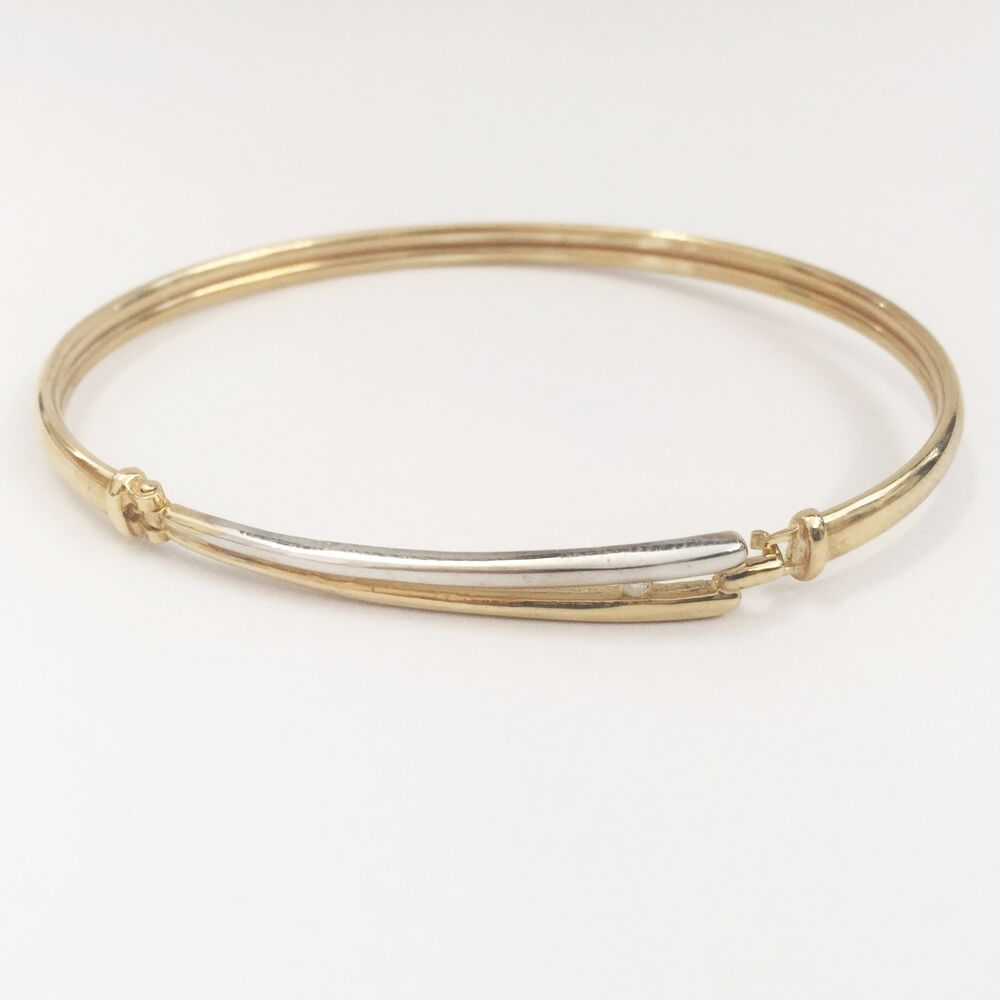 ** NEW ** 9ct Yellow Gold (with White Gold) Diamond Bangle ...