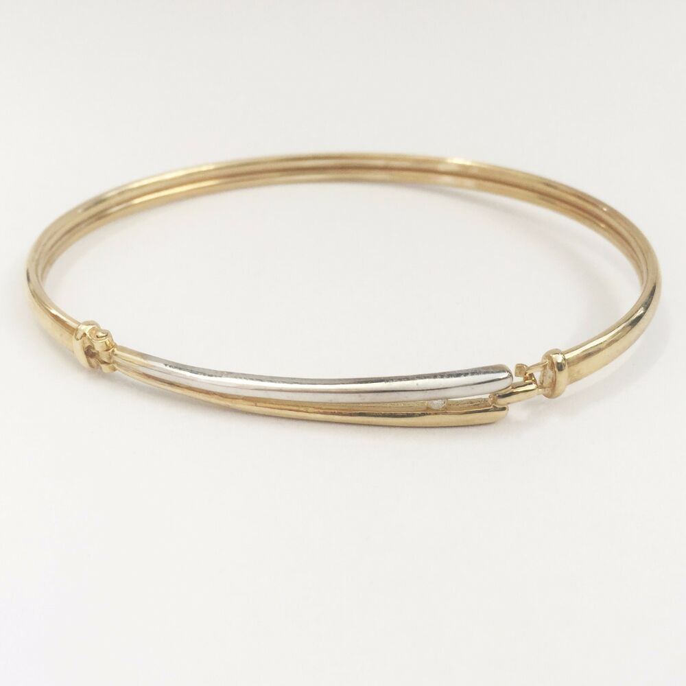 Gold Jewelry Bracelets: ** NEW ** 9ct Yellow Gold (with White Gold) Diamond Bangle