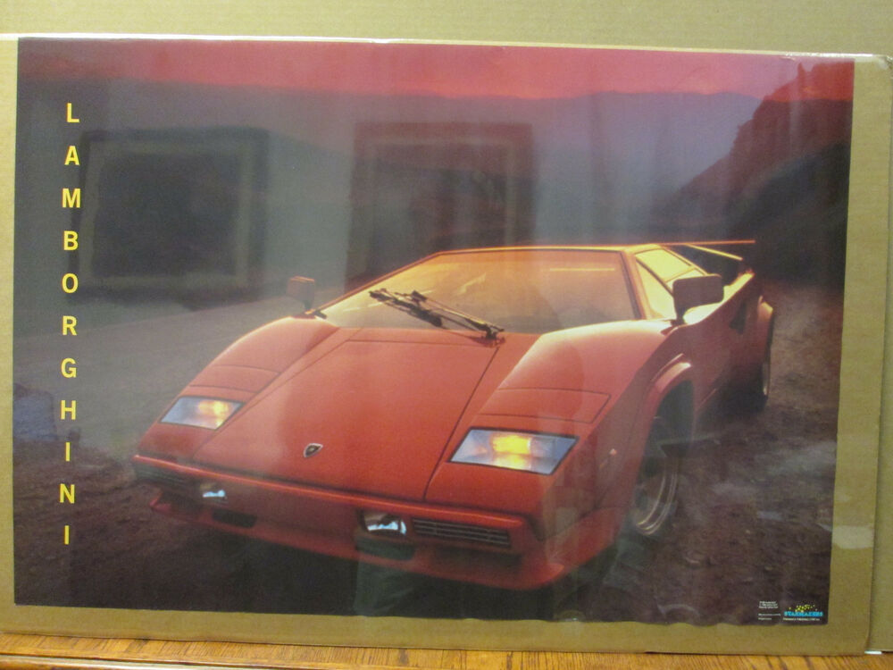 Man Cave Car Art : Vintage lamborghini countach car garage man cave